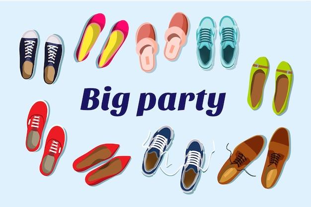 Duża dyskoteka. duża impreza. koncepcja zaproszenia na przyjęcie.