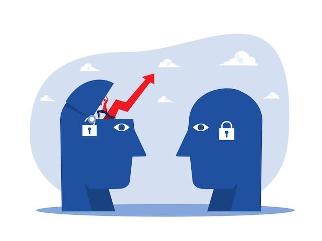 Duża głowa człowieka myśli wzrost mentalności inny ustalony wektor koncepcji myślenia