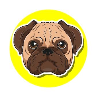 Duża głowa mops pies kreskówka