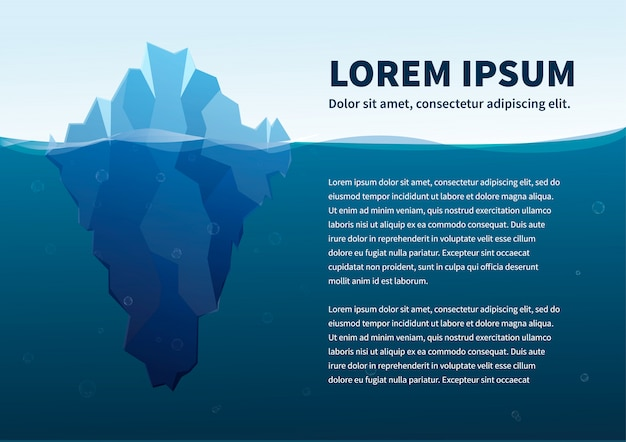 Duża góra lodowa w morzu, pojęcie ilustracja z tekstem, a4 rozmiaru szablon