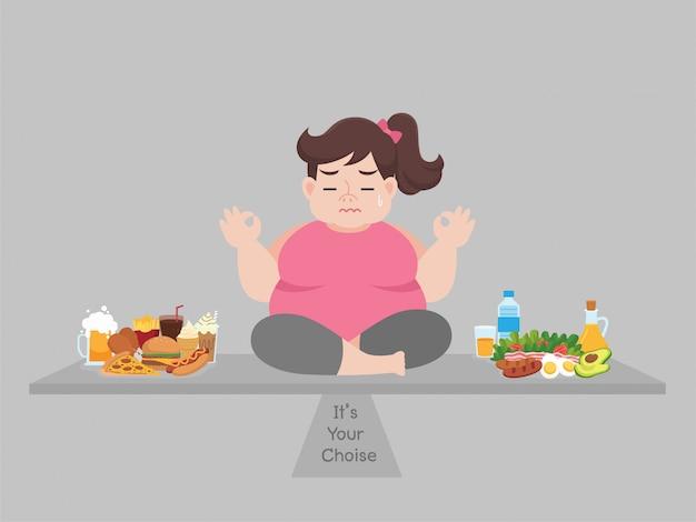 Duża gruba kobieta rozważa wybór między fast foodem lub dobrym jedzeniem, diety kreskówką, schudnąć, koncepcji opieki zdrowotnej.