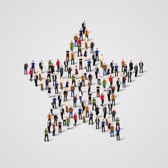 Duża grupa ludzi stojących w znaku zodiaku