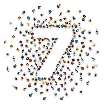 Duża grupa ludzi w formie numer 7 siedem. czcionka ludzi. ilustracja wektorowa