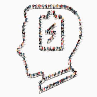 Duża grupa ludzi w kształcie głowy, akumulator.