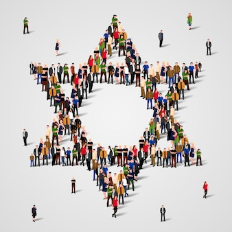 Duża grupa ludzi w kształcie gwiazdy dawida