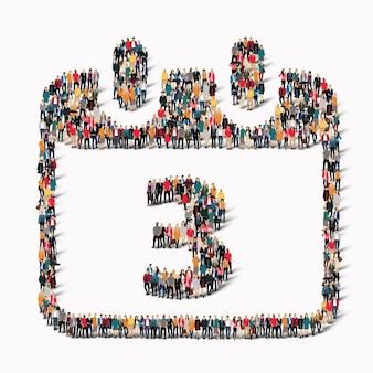 Duża grupa ludzi w kształcie ikony kalendarza z datą wakacyjną. ilustracja
