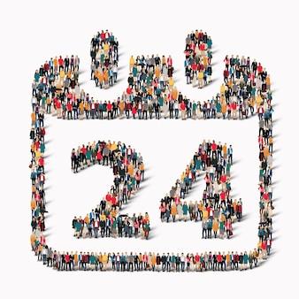 Duża grupa ludzi w kształcie ikony kalendarza z datą wakacyjną