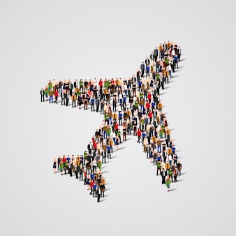Duża grupa ludzi w kształcie samolotu
