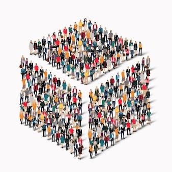 Duża grupa ludzi w kształcie sześcianu.