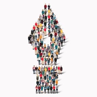 Duża grupa ludzi w kształcie wiecznego pióra