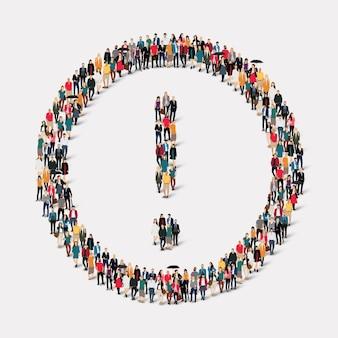 Duża grupa ludzi w kształcie wykrzyknika.