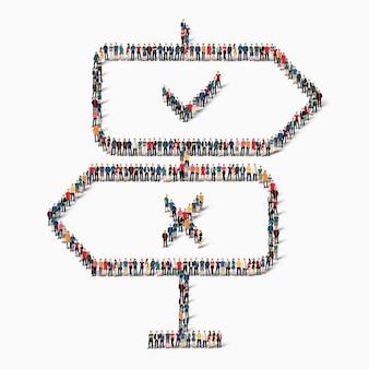 Duża grupa ludzi w kształcie znaku drogowego, znaku chek, krzyża, ikony.