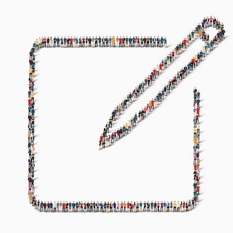 Duża grupa ludzi w kształcie znaku tabletu, pióra, ikony.