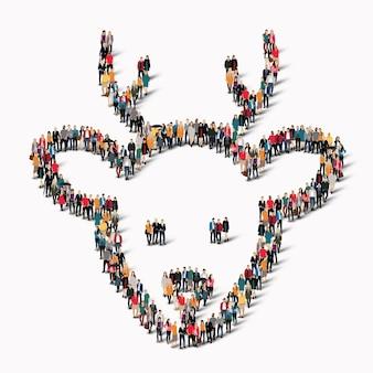 Duża grupa ludzi w postaci jeleni. ilustracja.