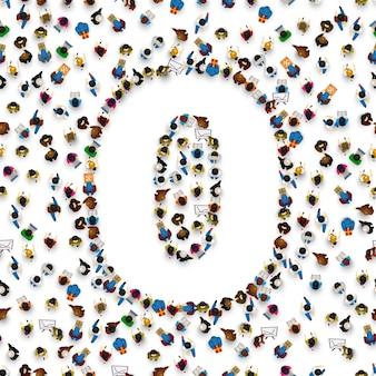 Duża grupa ludzi w zerowej formie numer 0. czcionka ludzi. ilustracja wektorowa