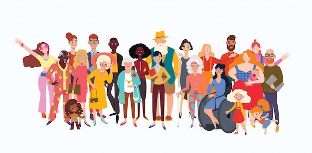 Duża grupa różnorodnych ludzi dołączyła do szczęścia. wybór starych, kolorowych, niepełnosprawnych i różnych osób. różnorodność społeczna, relacje, zasoby ludzkie, duża grupa rodzinna.