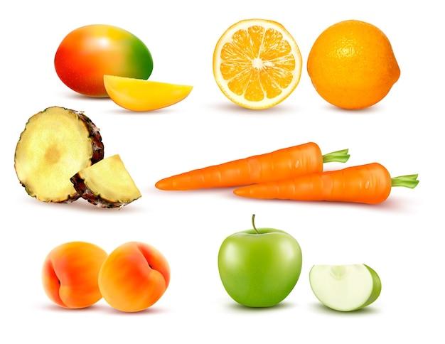 Duża grupa różnych owoców i warzyw. wektor.