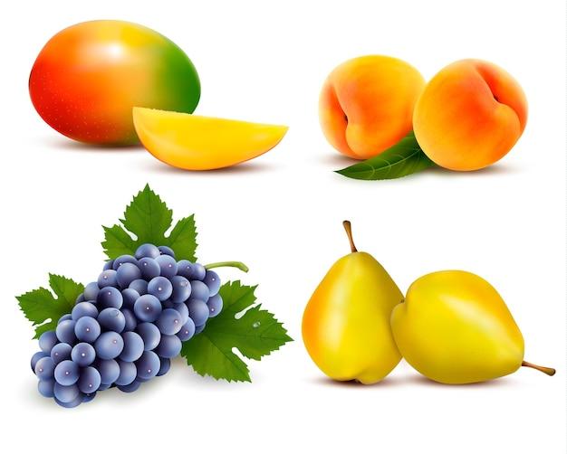 Duża grupa różnych owoców.