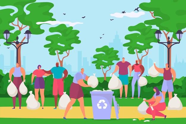 Duża grupa wolontariuszy płci męskiej i żeńskiej sprzątanie parku miejskiego ludzie charakter razem sprzątanie ogrodu mieszkanie...