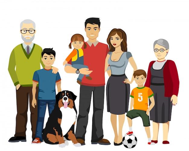 Duża i szczęśliwa rodzinna wektorowa ilustracja