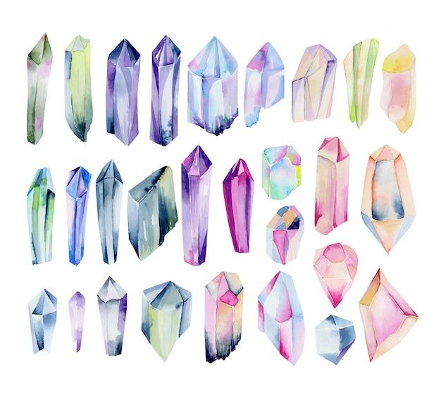 Duża kolekcja akwarela kolorowych i tęczowych kryształów, ręcznie malowana odosobniona ilustracja.