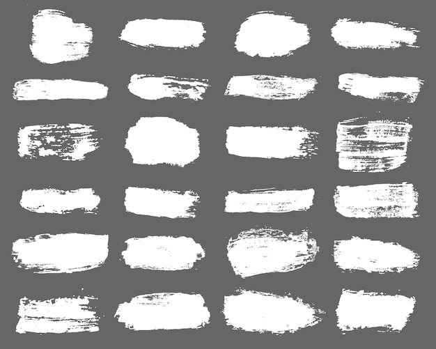 Duża kolekcja białej farby, pociągnięć pędzlem tuszem, pędzli, linii, nieczysty.