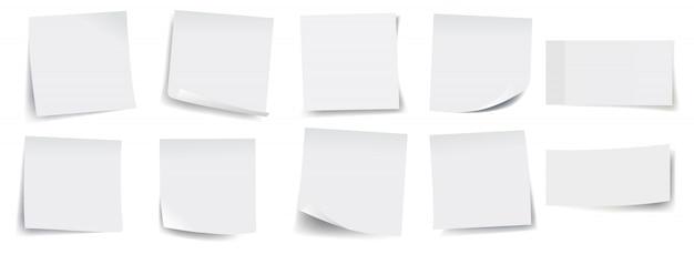 Duża kolekcja białych karteczek