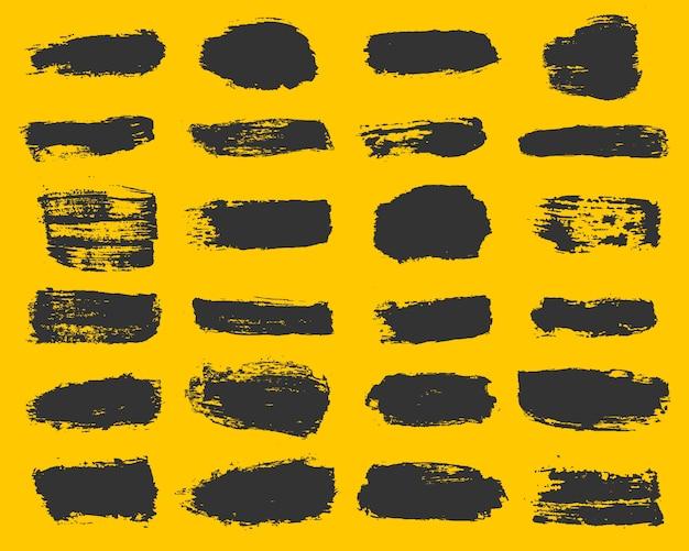 Duża kolekcja czarnej farby, pociągnięcia pędzlem tuszem, pędzle, linie, grungy.