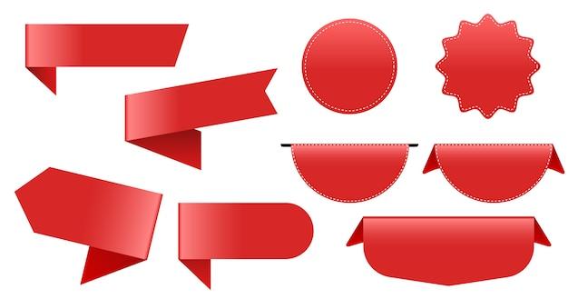 Duża kolekcja czerwonych etykiet. tag wstążka