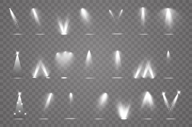 Duża kolekcja oświetlenia sceny, przezroczyste efekty. jasne oświetlenie z reflektorami.