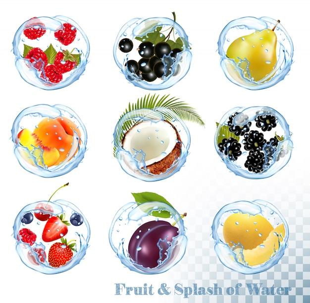 Duża kolekcja owoców w plusk wody. malina, czarna porzeczka, jeżyna, jagoda, śliwka, gruszka, brzoskwinia, truskawka, kokos, miodunka.