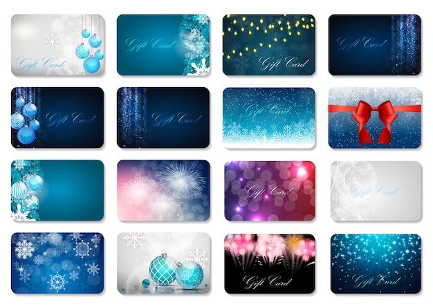 Duża kolekcja pięknych świątecznych i noworocznych kart podarunkowych tem