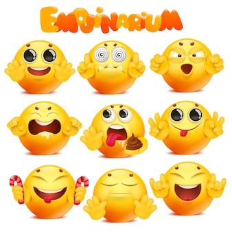 Duża kolekcja postać z kreskówki żółty emoji okrągły twarz