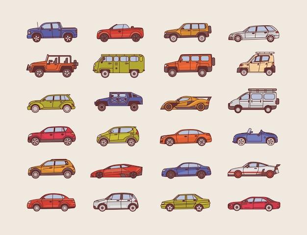 Duża kolekcja samochodów o różnych stylach konfiguracji nadwozia