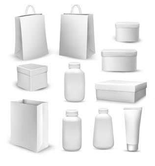 Duża kolekcja toreb na zakupy, pudełek na prezenty, plastikowych pojemników i tubki na krem.