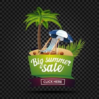 Duża letnia sprzedaż, transparent zniżki na białym tle na ciemnym tle w kształcie wstążki