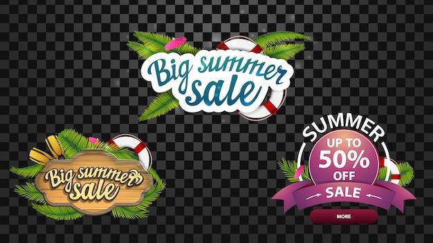 Duża letnia wyprzedaż, trzy banery internetowe ze zniżkami w formie logo z letnim wystrojem