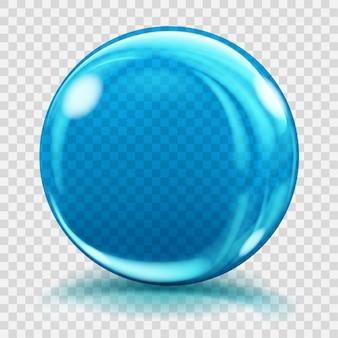 Duża niebieska szklana kula z odblaskami i cieniami. przezroczystość tylko w pliku wektorowym