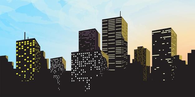 Duża nowoczesna sylwetka miasta z niebieskim niebem