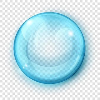 Duża półprzezroczysta jasnoniebieska kula z odblaskami i cieniem na przezroczystym tle. przezroczystość tylko w formacie wektorowym