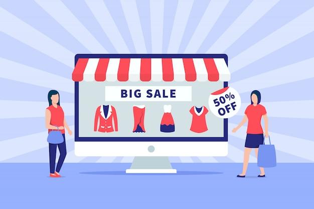 Duża Promocja Sprzedaży E-commerce Banner Z Ludźmi I Ekranem Monitora Premium Wektorów