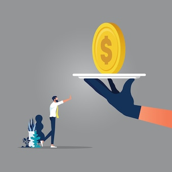 Duża ręka dać pieniądze biznesmenowi, który odmawia przyjęcia łapówki, biznesmeni podczas umowy korupcyjnej, koncepcja korupcji w biznesie