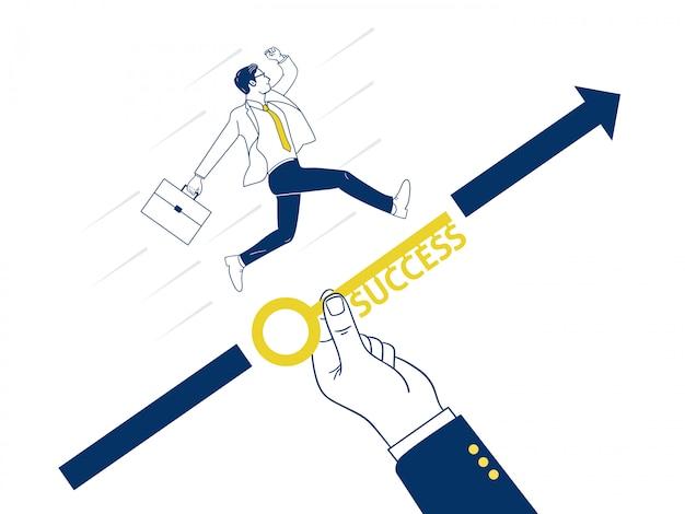 Duża ręka pomaga biznesmenowi osiągnąć cel.