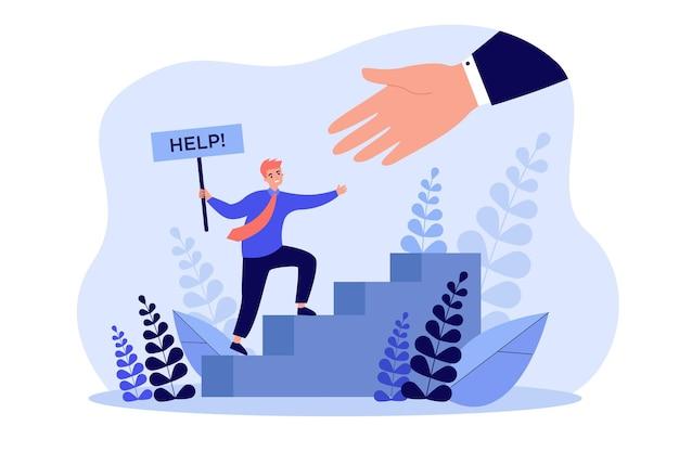 Duża ręka pomaga drobnemu biznesmenowi płaską ilustrację.