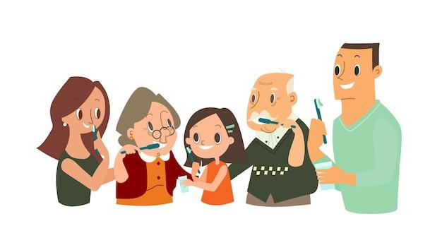 Duża rodzina myjąca zęby razem. ilustracja codziennego życia stomatologicznego i ortodontycznego.