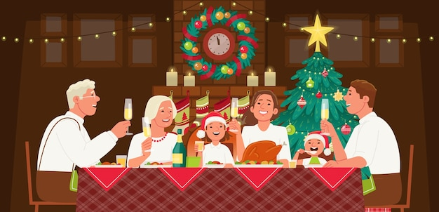 Duża rodzina obchodzi boże narodzenie lub nowy rok. babcia i dziadek, mama, tata i dzieci siedzą przy stole i kolacji. przytulny domowy kominek choinka.