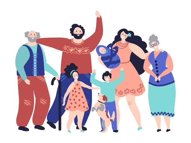 Duża rodzina. pokolenia, kreskówka uśmiechnięci rodzice i dzieci. szczęśliwi dziadkowie mama dziewczyna chłopiec dziecko znaków, koncepcja wektor rodzicielstwa. ilustracja rodzina matka i ojciec szczęśliwi