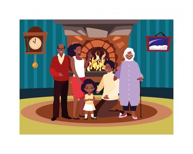 Duża rodzina razem w salonie, trzy pokolenia