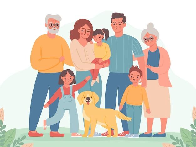 Duża rodzina. szczęśliwi rodzice, dzieci, babcia i dziadek. uśmiechnięty tata, mama, dzieci i pies. trzy pokolenia stojąc razem wektor portret. ilustracja rodzinna babcia i dziadek, dziewczyna i chłopak