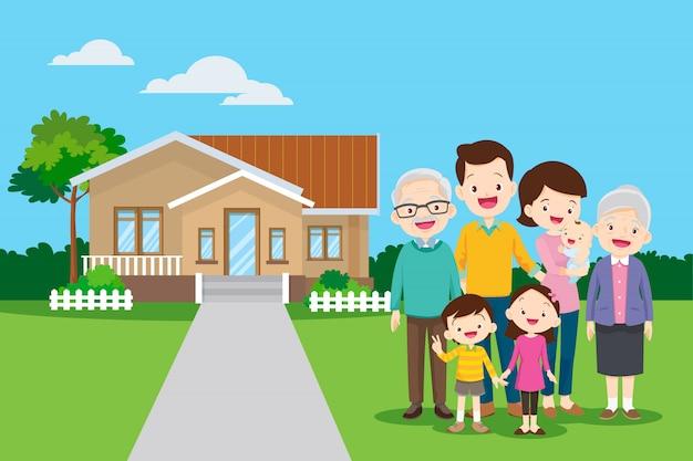 Duża rodzina w tle ich domu